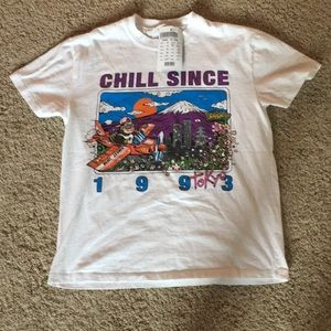 White Brandy Melville Chill since 1993 Tokyo top